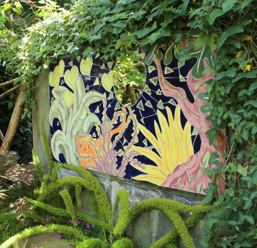 mosaic artwork in garden