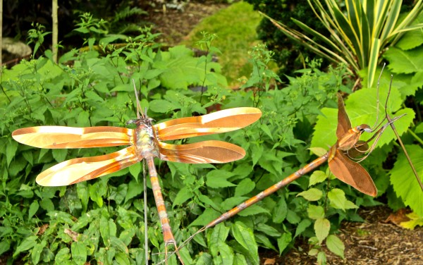dragonfly sculpture in garden