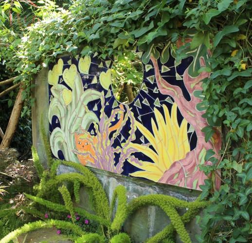 mosaic artwork in garden